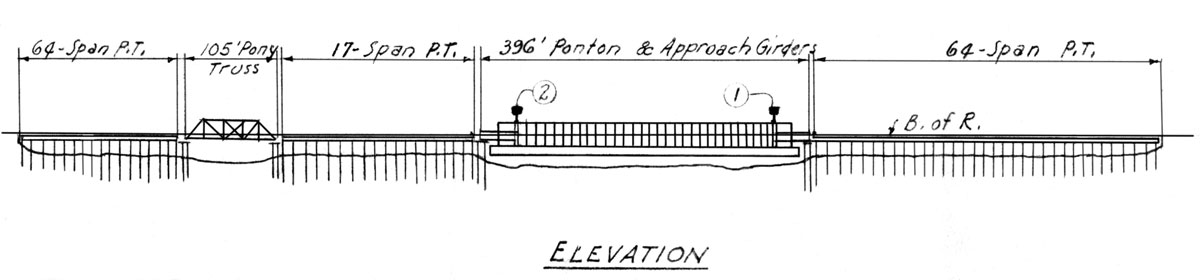 Pontoon Bridge Reeds Landing Blue Print