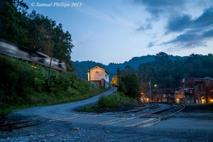 In a late summer blue hour scene, train 845 works west lighting up the old Virginian depot at Matoaka with the Bluestone Branch in the foreground. Matoaka is just one of those fascinating old West Virginia towns that one could spend hours roaming around!