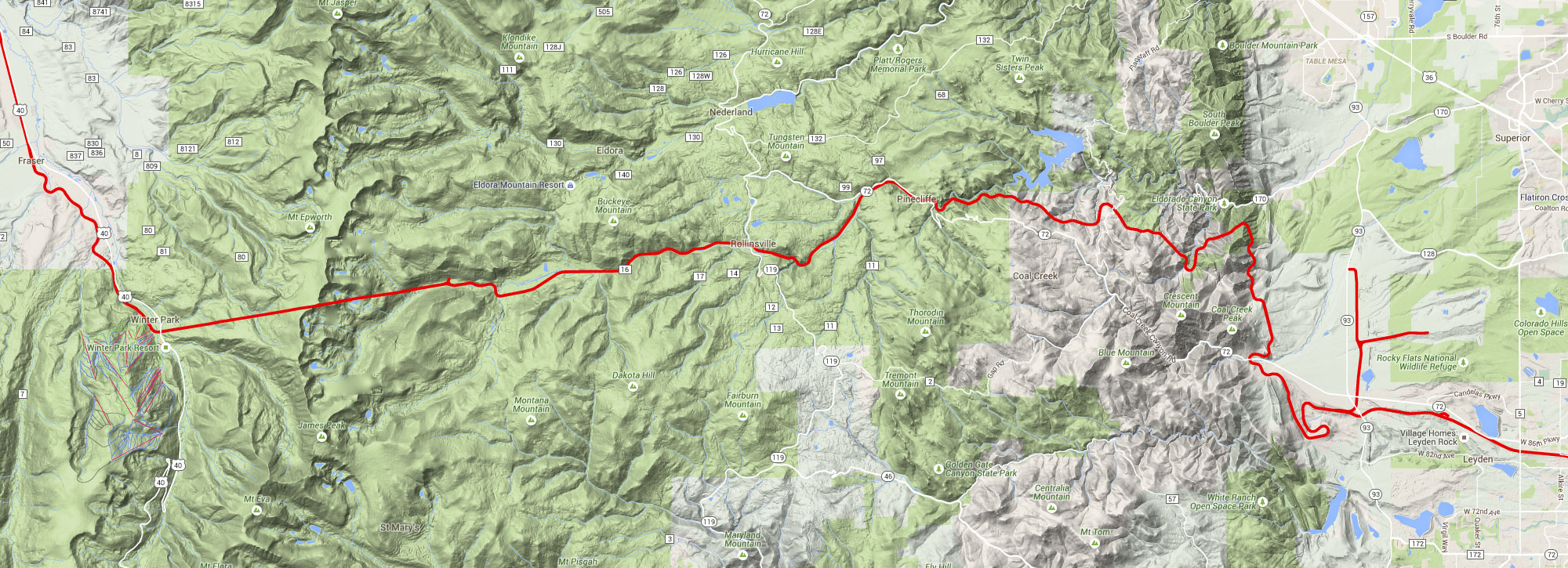 Moffat Route Terrain Map - West Denver Metro to Winter Park